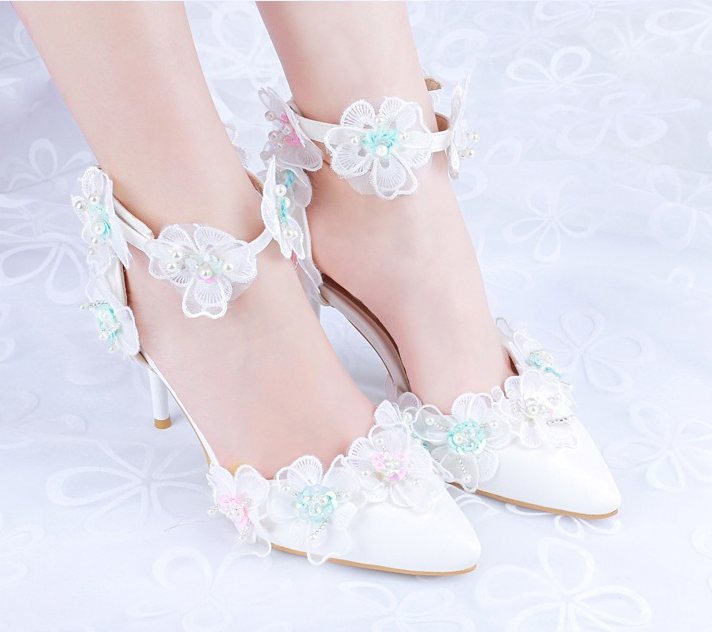 Femme Dentelle Floral bout pointu et strass Plus Taille Korean Enfiler Mariage Chaussures