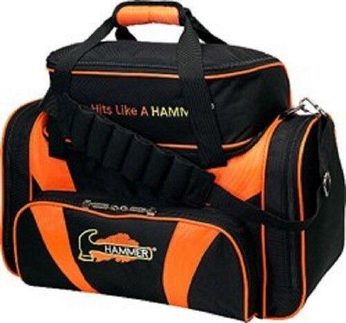 Hammer Deluxe Double Black//Orange 2 Ball Bowling Bag