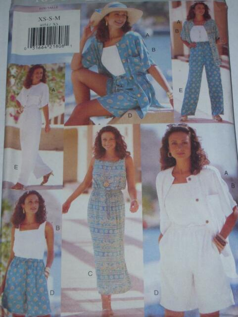 BUTTERICK #4054-LADIES DRAWSTRING WAIST DRESS-SHORTS-PANT & TOP PATTERN  XS-XLuc