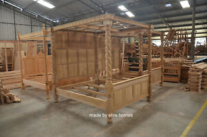 TEAK-WOOD-Super-King-size-6-039-Raw-Natural-finish-Four-poster-canopy-Tudor-Bed
