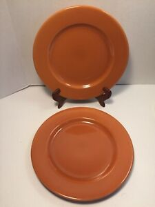 Lot-of-2-Pier-1-Bohemian-Burnt-Orange-Ironstone-Dinner-Plates-10-5-8-034-Brazil