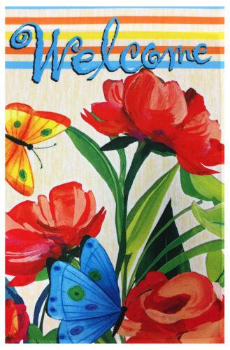 """Butterflies /& Flowers Welcome Garden Flag 12/""""X18/"""" Spring~Summer Decorative Flag"""