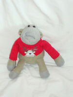PG Tips Chimp Soft plush Beanie Toy wearing Christmas Jumper. Xmas Monkey