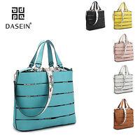 New 2 in 1 Women Leather Tote Bag Shoulder Bag Satchel Briefcase Purse Handbag