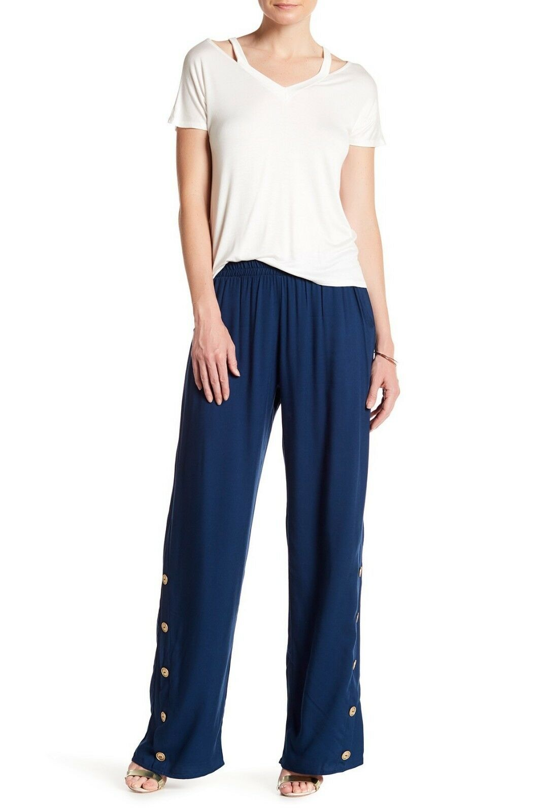 Pull On Twill Wide Leg Pant with Button Detail bluee Small NWT Leibl 38