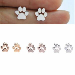 6e14a8c3c Fashion Womens Dog Paw Print Stud Earrings Gold Silver Plated Ear ...