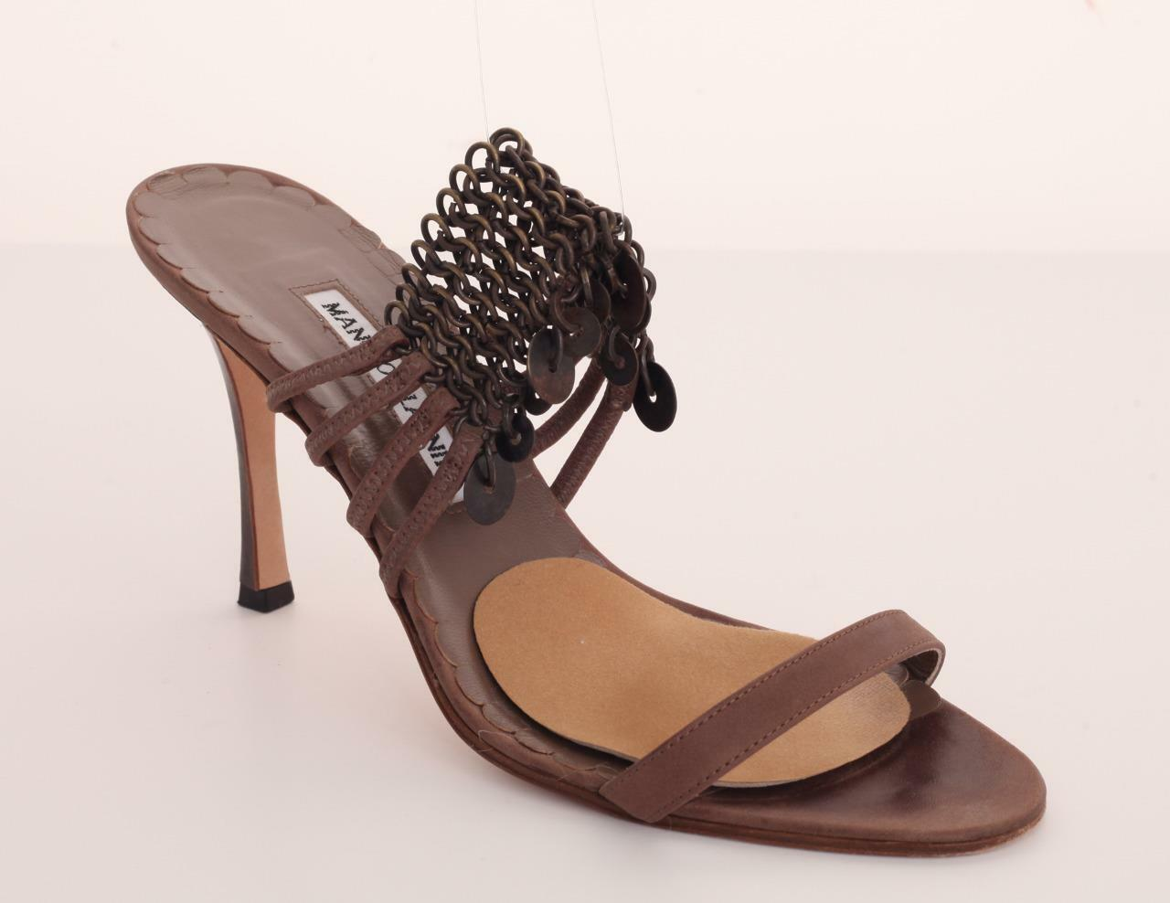 MANOLO BLAHNIK Taupe Leather High Heel Open-Toe Chain Sandal Pump shoes 10-40