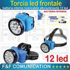TORCIA LUCE LED RICARICABILE LAMPADA FRONTALE DA TESTA CON ZOOM PESCA CACCIA