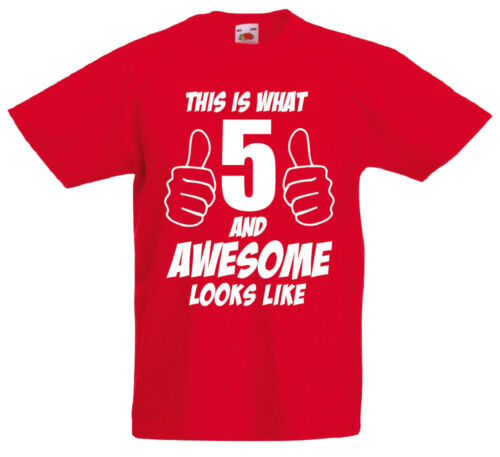 5th Birthday Gift T-Shirt For 5 Year Old Boys Gift Ideas 5 And Awesome