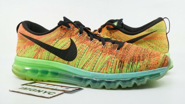 new product 42b71 3b704 DS Mens Nike Flyknit Air Max Shoes HYPER Crimson Electric Green 620469-800  Sz 13