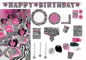 Birthday Animal Print Zebra Tableware Pink Black Tablecover Cups ...