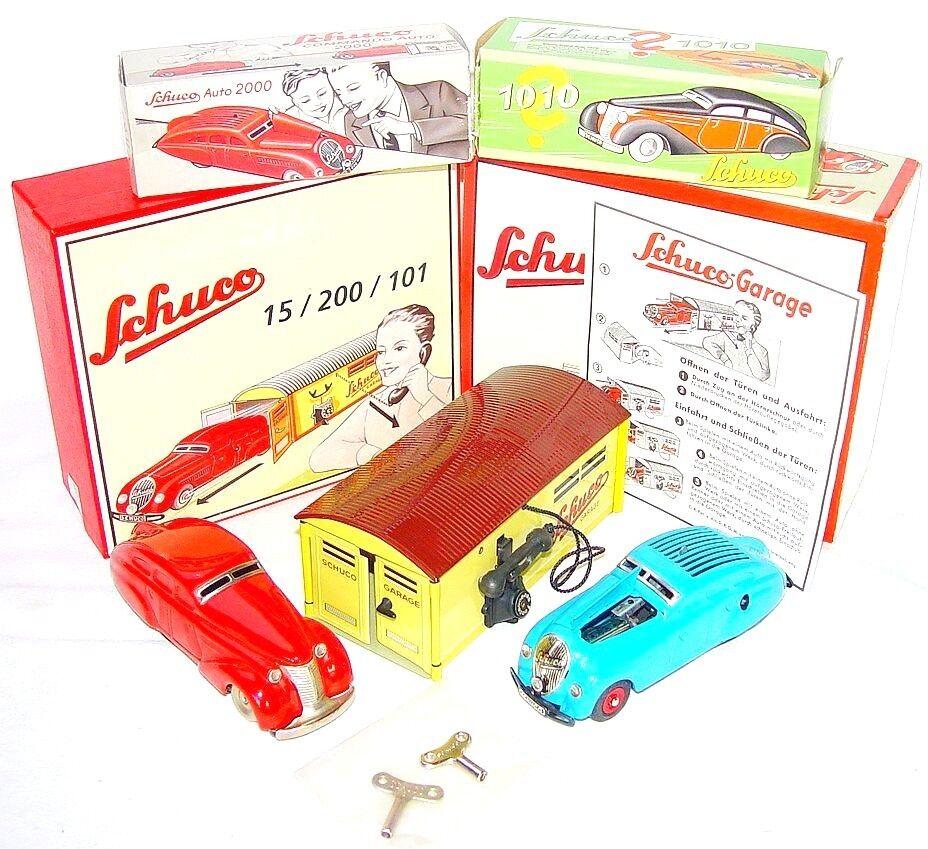 Schuco COMMAND CAR 2000 + WENDE-LIMOUSINE 1010 Wind-Up Tin Toy Car & GARAGE MIB