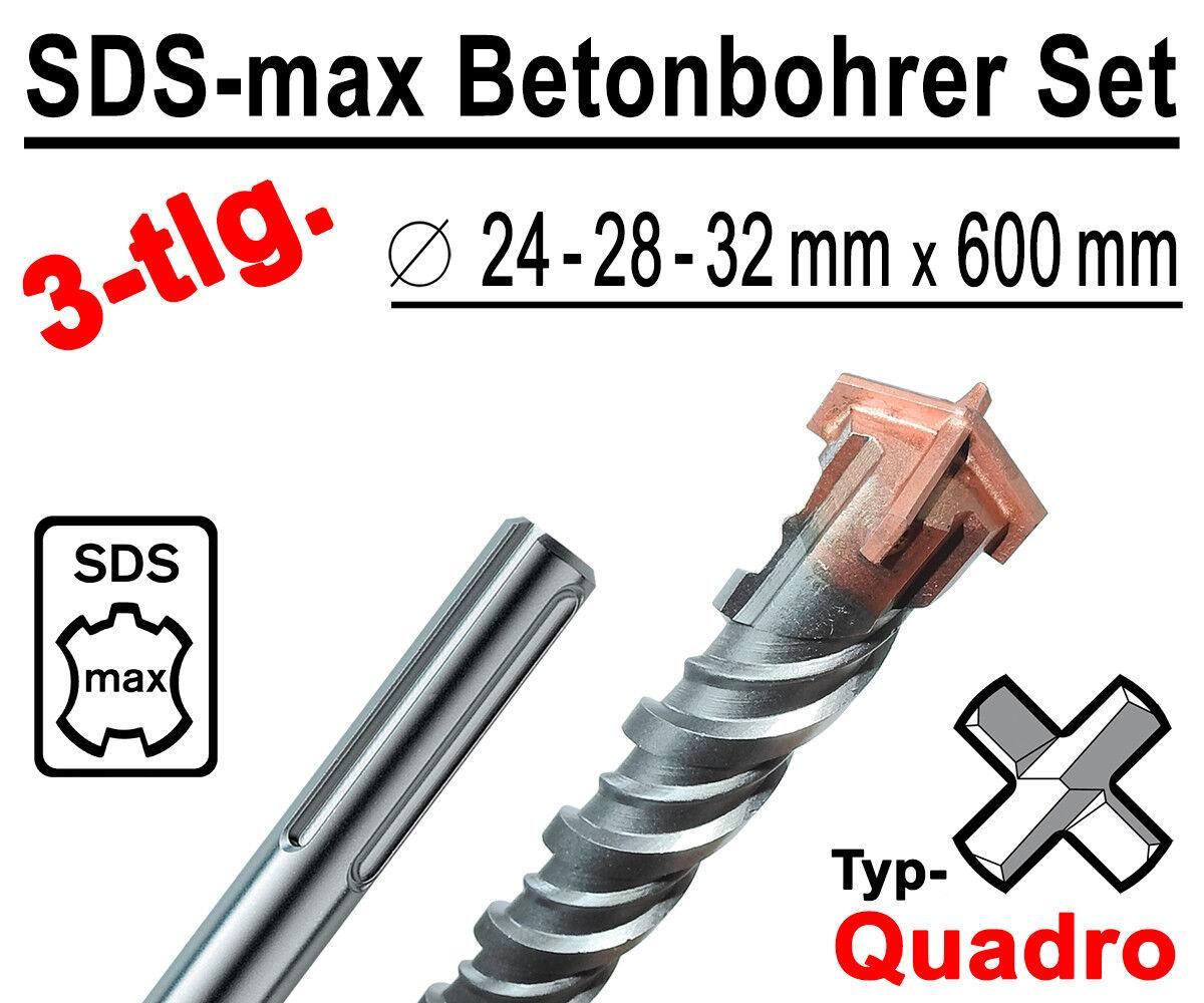 SDS-max Betonbohrer Set 3-tlg Quadro Bohrer Hammerbohrer 24mm 28mm 32mm x 600mm