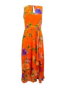 Calvin-Klein-Women-039-s-Surplice-Floral-Print-Dress-2-Orange-Multi