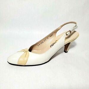 Vintage Salvatore Ferragamo Italy Tan Leather Pumps Shoes