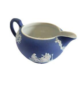 "VINTAGE Wedgwood Jasperware Dark Cobalt Blue Creamer Cup England Greek 5x3.5x2"""