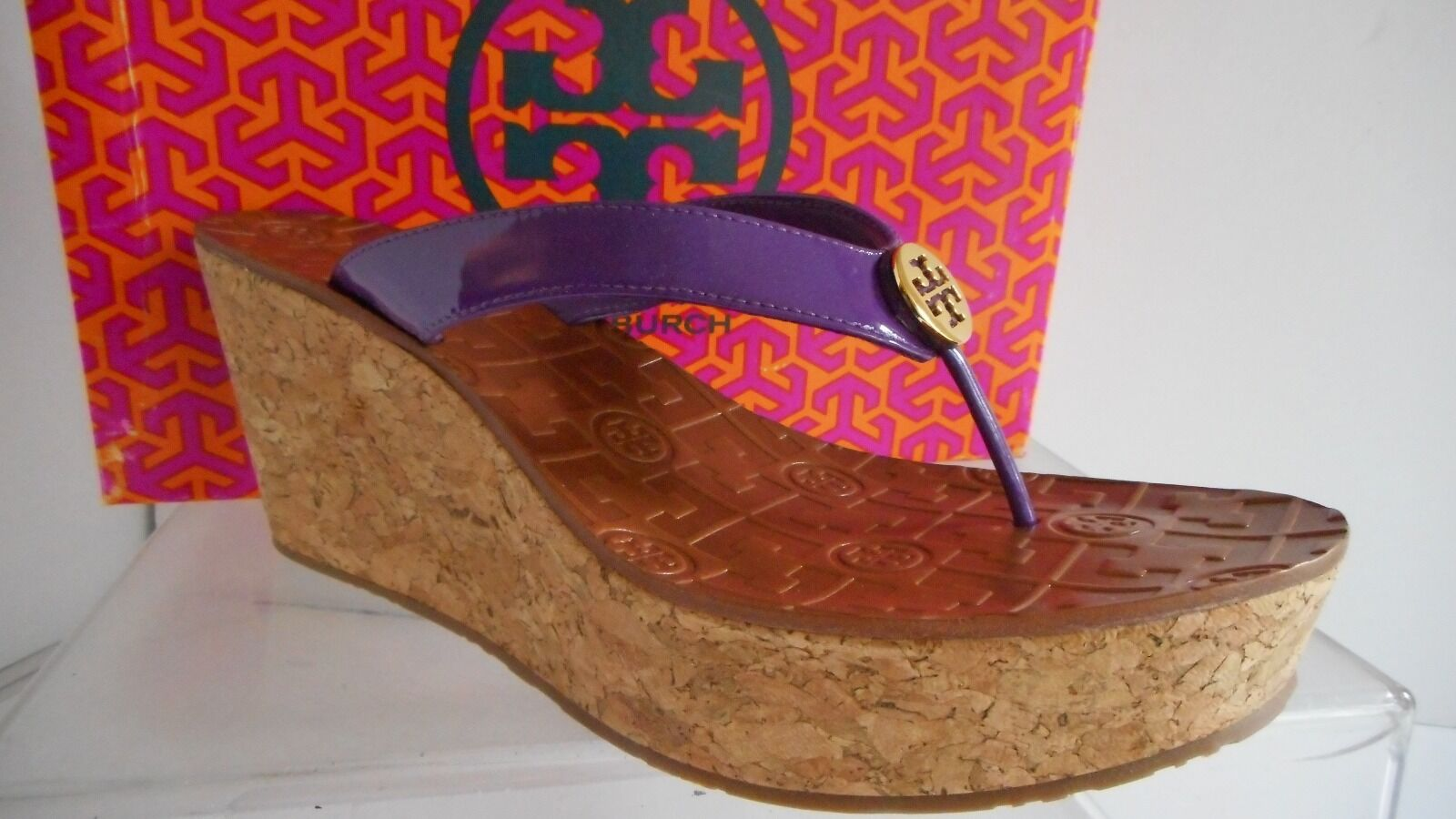 Tory Burch Thora Cork Platf Wedge Thong Sandals Desert Purple Patent Leath 10.5