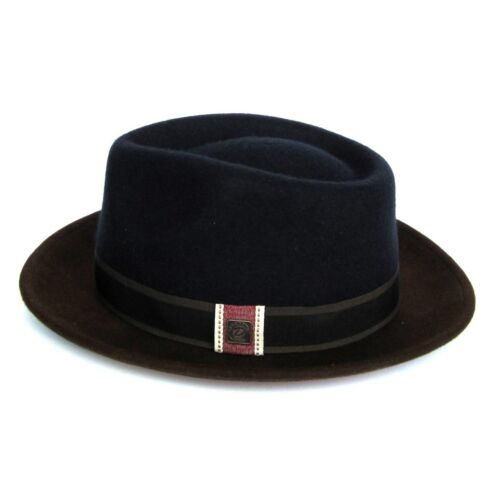 Edwin Two Tone Wool Felt Winter Wide Brim Fedora Trilby Hat