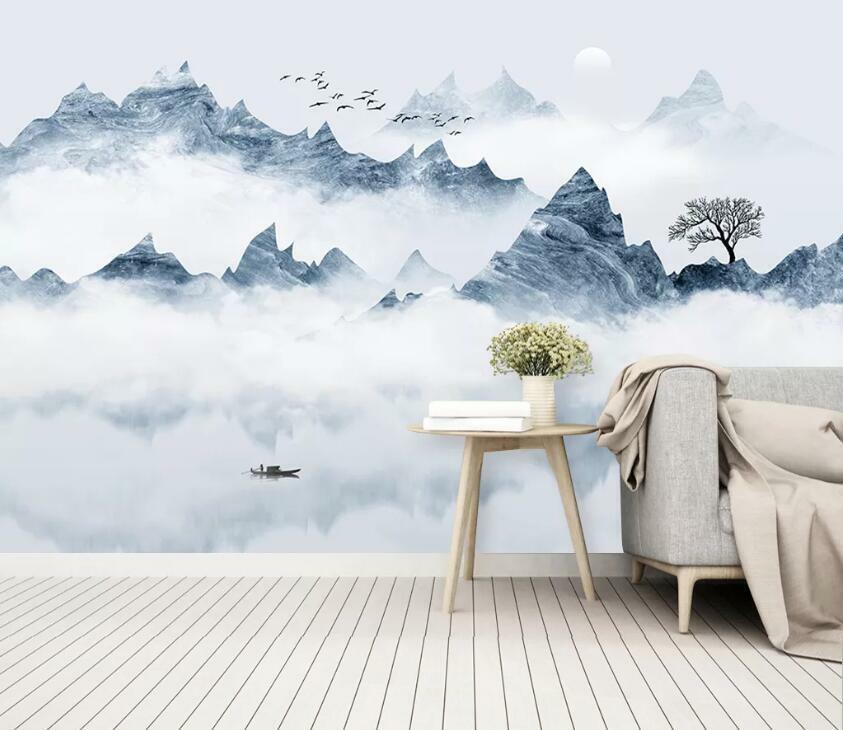 3D Berg Wolke H2751 Tapete Wandbild Selbstklebend Abnehmbare Aufkleber Wend
