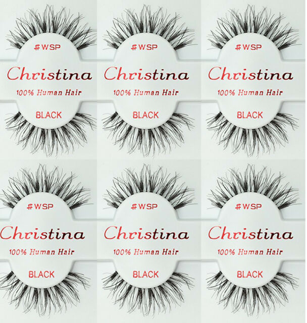 d762be8f7ce 6 Pairs Christina 100% Human Hair False Eyelashes # WSP Compare Red Cherry