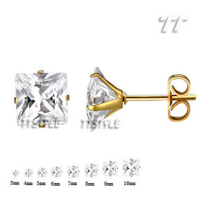 ES04A TT Stainless Steel Clear CZ Square Stud Earrings 3mm-10mm A Pair