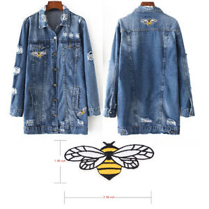3X-bee-embroidered-sew-iron-on-patch-badge-fabric-bag-clothes-applique-lace-EV