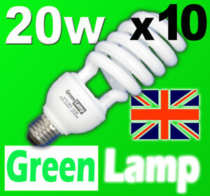 10 x 20w 2700k Warm Energy Saving CFL bulb ES E27
