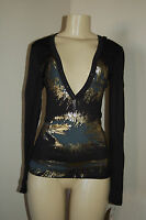 Women's Pdc Low Cut Black Gold Printed Hooded Long Sleeve Top Size S M $62