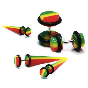 Rasta-Jamaican-Flag-Fake-Ear-Plug-Illusion-Cheater-Stretcher-Taper-Expander