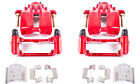 Disc Brake Caliper-Perf Red Powder Coated Calipers with Brackets Rear Power Stop