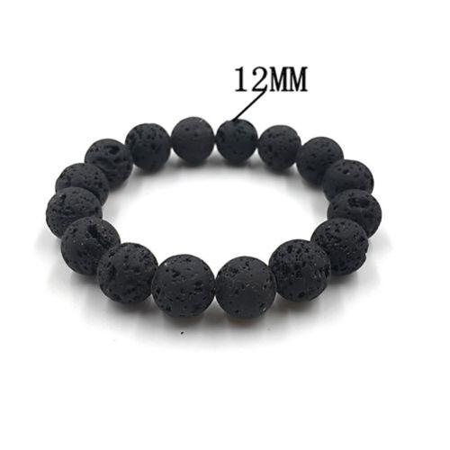 Mens Natural Black Lava Stone Rock Volcanic Round Bead Elastic Bracelets Bangle