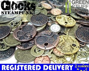 Steampunk-Clocks-Set-85-gr-Jewellery-Making-Necklace-Vintage-Clock-Charms