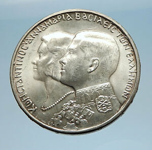 1964-Greece-CONSTANTINE-II-Marries-Anne-Marrie-from-Denmark-Silver-Coin-i71620