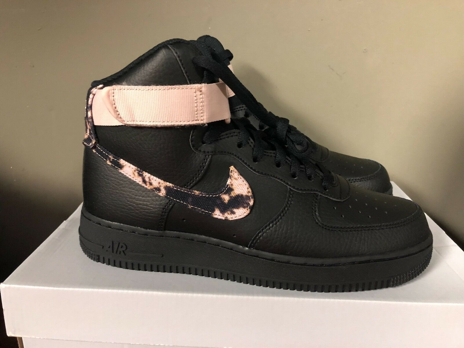 NIKE AIR FORCE 1 HIGH PRINT BLACK/WHITE-PARTICLE BEIGE AR1954-002 NEW 2018