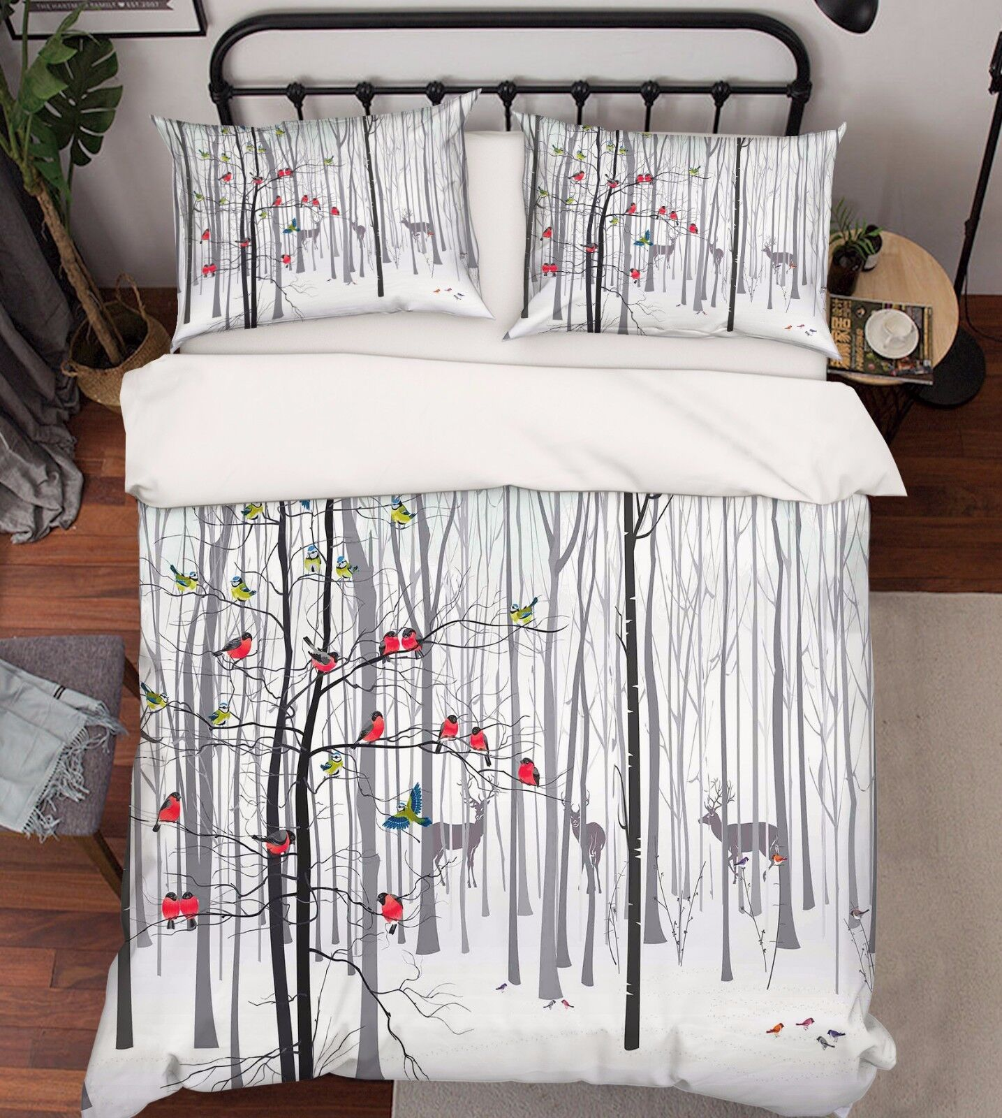 3D Äste Vogel 809 Bett Kissenbezüge steppen Duvet Decken Set Single DE Carly