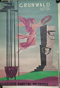 Poster-Antique-Gronowski-Tadeusz-1894-1990-Grunwald-Lipiec-Original-poland