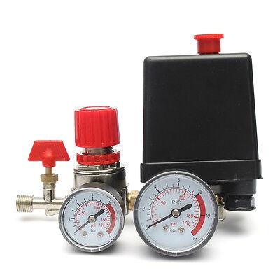 Pressure Switch Valve Manifold Regulator Gauges For Air Compressor 7.25-174 PSI