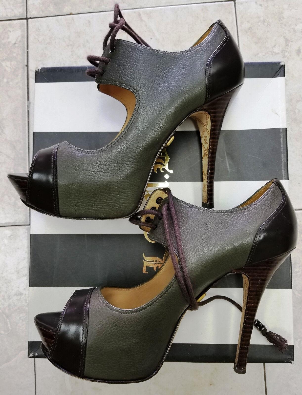 L.A.M.B. Lace Up Olive Leather Peep Toe Platform Stiletto Heels Dimensione 71 2 B