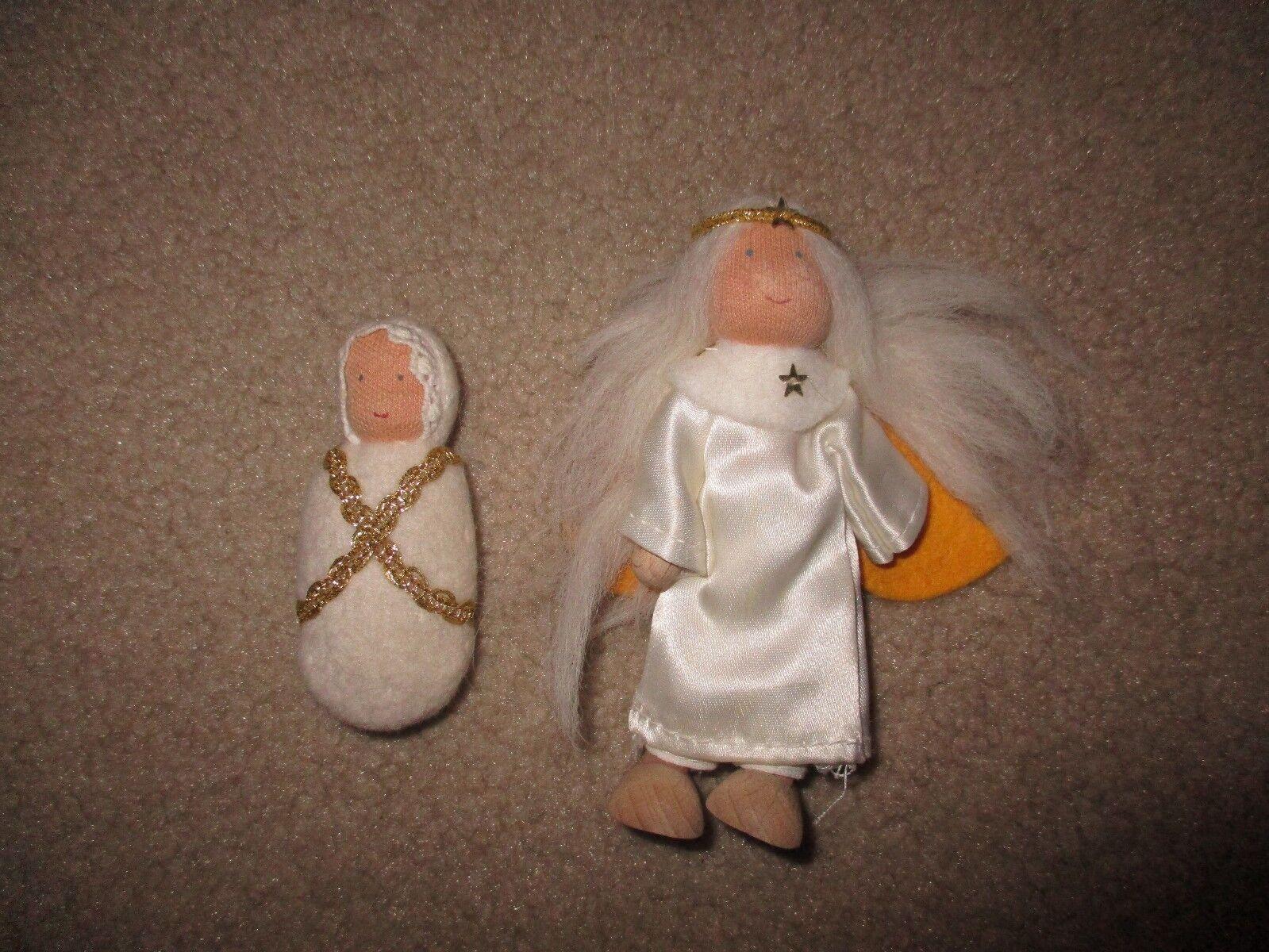 Kathe Kruse Nativity Angel and Baby Jesus Dolls Poseable