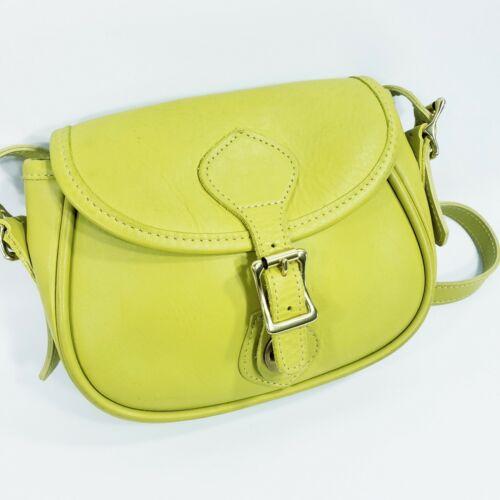JW Hulme Co - Small Lime Green Leather Saddlebag C