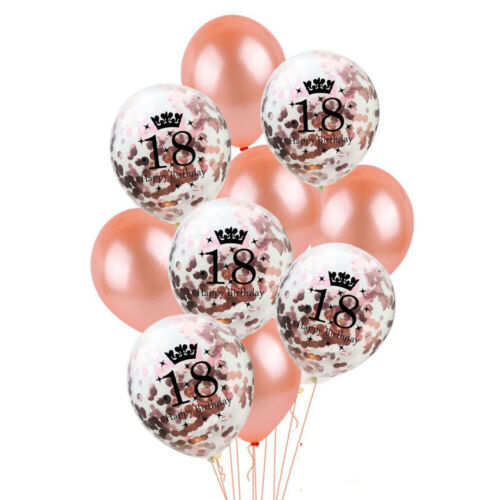 18//21st//30//40//50//60 Rose Gold Happy Birthday Balloons Confetti Sequins Balloon