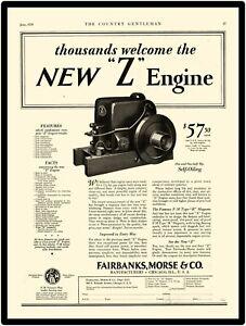 Chicago IL 1912 Fairbanks Morse New Metal Sign: Kerosene /& Oil Engines