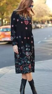 NWT-Zara-Midi-LONG-EMBROIDERED-DRESS-Black-AW15-REF-4786-247-M-Medium