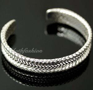 Image Is Loading Mens Sterling Silver Bracelet Woven Braided Bangle Cuff