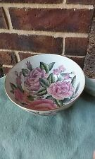 Vintage Chinese Porcelain Bowl pink Floral roses hand painted PRETTY