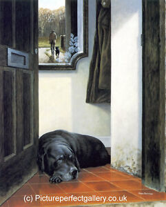 Nigel-Hemming-IN-RETIREMENT-FRAMED-Old-Black-Labradors-Gun-Dogs-Very-Rare-Art