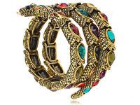 Multi Color Rainbow Gem Crystal Rhinestone Snake Wrap Bracelet Bangle Cuff USA