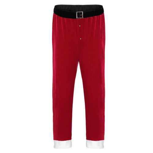 US Adult Mens Santa Claus Long Pants Christmas Holiday Cosplay Costume Trousers
