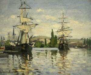 Claude Monet On the Boat Giclee Canvas Print Paintings Poster Reproduction Copy
