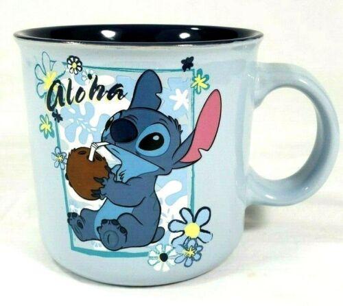Disney Stitch Aloha Coconut Blue Ceramic Mug New